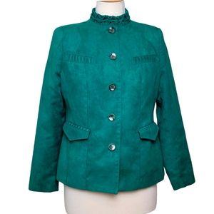 ALIA Jacket Blazer Button Down Faux Suede Green
